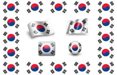 south korea flag icon set