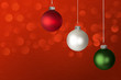 White, Red and Green Christmas Ornaments ~ Glowing Led Lights