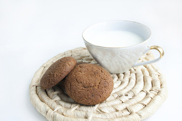 Tasty chip cookies with cup of milk