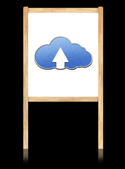 Cloud computing concept on white board with wooden frame