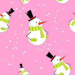 Seamless pattern with cute cartoon Christmas snowman