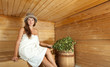 girl is steamed in the sauna