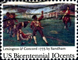 Lexington & Concord 1775 by Sandham. US Postage.