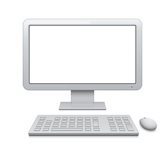 Vector desktop computer with blank widescreen monitor (16:9)