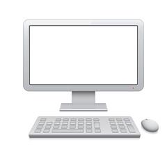 Vector desktop computer with blank widescreen monitor (16:9)