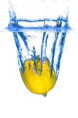 Yellow Lemon Dropped in Water