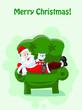 Постер, плакат: Дед Мороз поздравляет всех с Рождеством Христовым