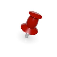 Red thumbtack on white