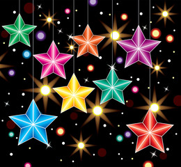 vector winter holiday decoration with colorful stars and lights