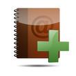 Icono agenda e-mail 3D con simbolo añadir
