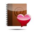 Icono agenda e-mail 3D con simbolo favorito