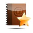 Icono agenda e-mail 3D con simbolo estrella
