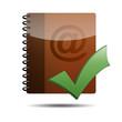Icono agenda e-mail 3D con simbolo validacion