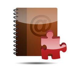 Icono agenda e-mail 3D con simbolo plugin