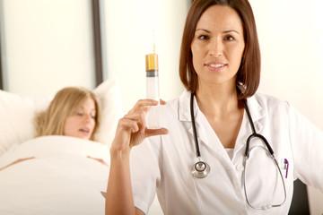 Ärztin und Patient