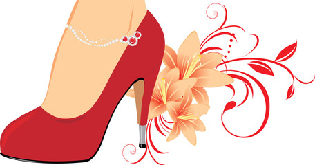 Elegant red female shoes with lilies
