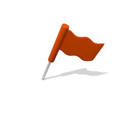 Orange flag on white, 3D image