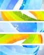 Set of bright banners with 3d element