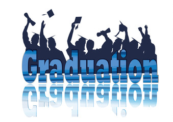 Graduation celebration in silhouette