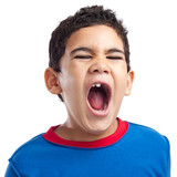 Latin boy screaming with anger on a white background poster