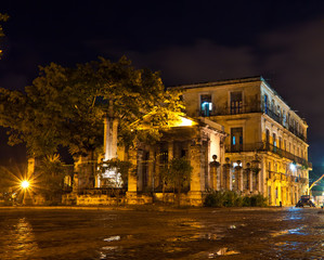 El Templete, the founding site of Havana illuminated at night