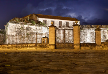 La Fuerza Castle, a landmark of Old Havana, illuminated at night