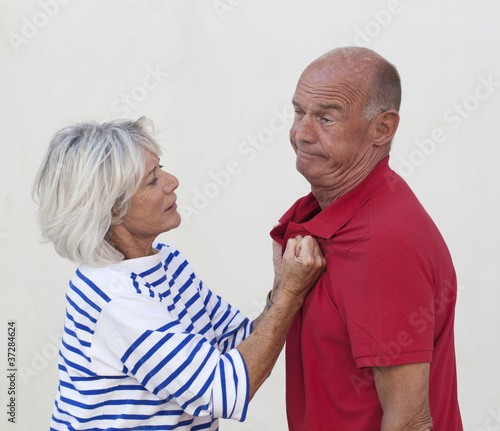 senior woman being tired of her husband