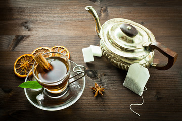 hot tea and old tea pot