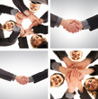 A collage of young business persons and handshakes