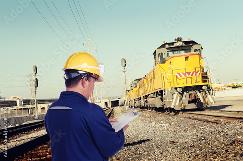 construction man works at railroad