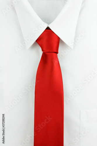 Close-up of a shirt with a tie.