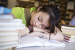 Schülerin, Bibliothek, schlafen 3