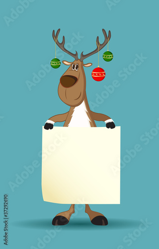Reindeer with christmas balls on its antlers holding a paper