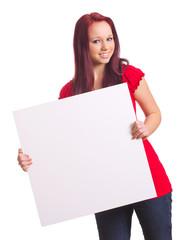 Mädchen mit Werbetafel
