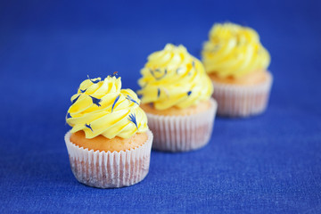 Lemon yellow cupcakes