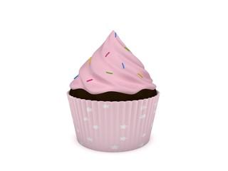 3d Rendering Cupcake rosa mit bunten Streuseln
