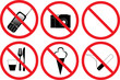 six prohibitory signs isolated on white