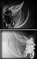grey men on motorcycle in flame