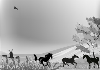 horses in grey country landscape