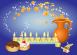 hanukkah background with candles and coines