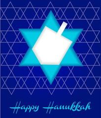A Happy Hanukkah card template in blue