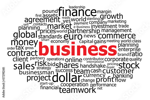 BUSINESS Tag Cloud (finance commerce banking stock markets cash)