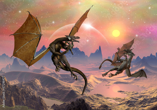 Deurstickers Draken Dragons - Fantasy World 03