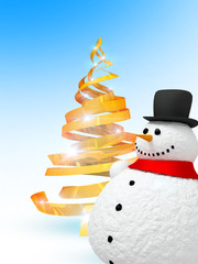 Happy snowman and christmas tree
