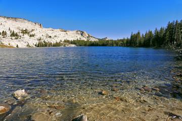 The coast of mountain lake