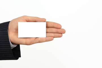 businessman hand with white vizit card