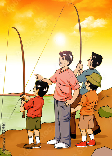 Illustration of people fishing at the river side
