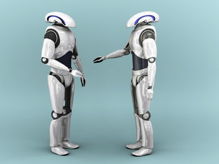 Two robots interacting.