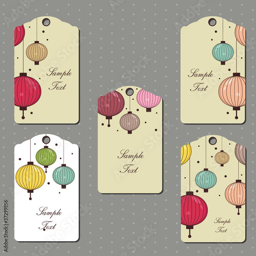 vector collection of tags with hanging lanterns