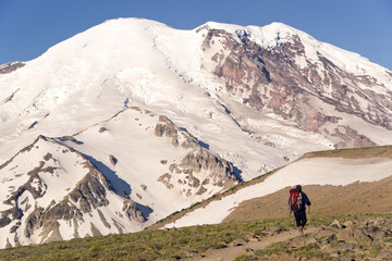 Mt. Rainier and Hiker